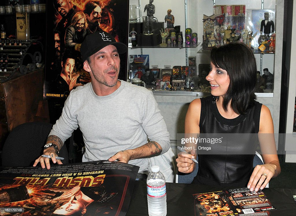 Actor Noah Hathaway and actress Cortney Palm participate in the Blu-ray And DVD Release Party For Magnolia Home Entertainment's 'Sushi Girl' held at Dark Delicacies Bookstore on February 19, 2013 in Burbank, California.