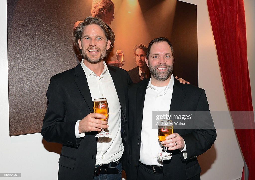 Actor Noah Huntley and Rick Oleshak, U.S. Marketing Director, Stella Artois attend the Stella Artois launch of the Timeless Beauty Campaign shot by legendary photographer, Annie Leibovitz at Village at the Lift on January 18, 2013 in Park City, Utah.
