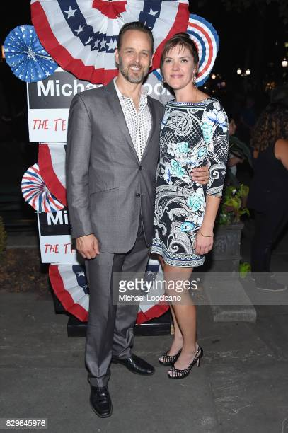 Actor Noah Racey and designer Marcia Patmos attends the after party as awardwinning filmmaker Michael Moore celebrates his Broadway Opening Night in...