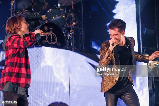 Actor Noah Schnapp and Panic at the Disco singer Brendon Urie perform at Madison Square Garden on March 2 2017 in New York City