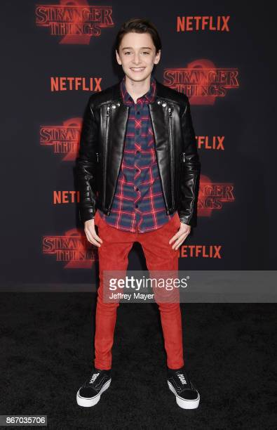 Actor Noah Schnapp arrives at the Premiere Of Netflix's 'Stranger Things' Season 2 at Regency Westwood Village Theatre on October 26 2017 in Los...