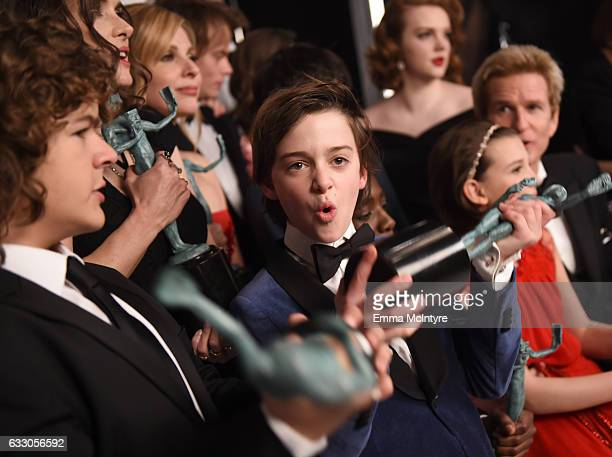 Actor Noah Schnapp winner of the Outstanding Ensemble in a Drama Series award for 'Stranger Things' poses during The 23rd Annual Screen Actors Guild...