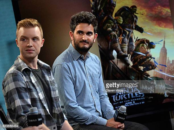 Actor Noel Fisher and director David Green attend 'AOL Build Presents Cast And Director Of 'TMNT 2' at AOL Studios In New York on May 23 2016 in New...