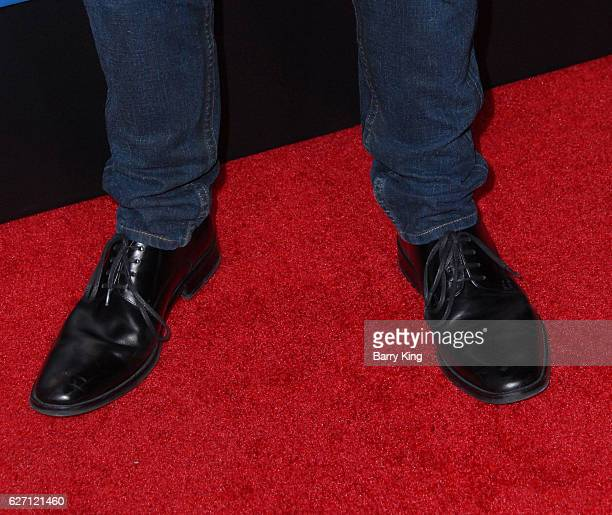 Actor Noel Fisher shoe detail attends the premiere of Hulu's 'Shut Eye' at ArcLight Hollywood on December 1 2016 in Hollywood California