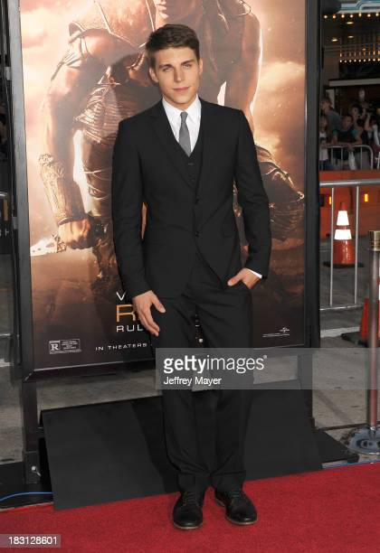 Actor Nolan Gerard Funk arrives at the Los Angeles premiere of 'Riddick' at the Westwood Village Theatre on August 28 2013 in Westwood California