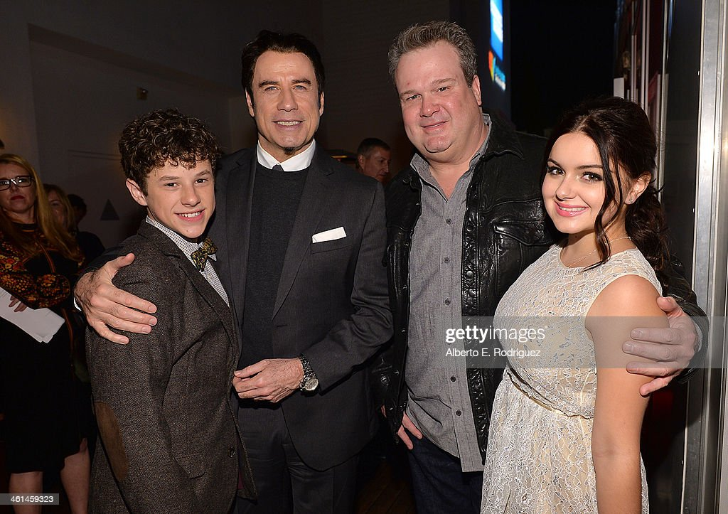 Actor <a gi-track='captionPersonalityLinkClicked' href=/galleries/search?phrase=Nolan+Gould&family=editorial&specificpeople=5691358 ng-click='$event.stopPropagation()'>Nolan Gould</a>, Actor/ Qantas Ambassador <a gi-track='captionPersonalityLinkClicked' href=/galleries/search?phrase=John+Travolta&family=editorial&specificpeople=178204 ng-click='$event.stopPropagation()'>John Travolta</a>, actors <a gi-track='captionPersonalityLinkClicked' href=/galleries/search?phrase=Eric+Stonestreet&family=editorial&specificpeople=6129010 ng-click='$event.stopPropagation()'>Eric Stonestreet</a>, and <a gi-track='captionPersonalityLinkClicked' href=/galleries/search?phrase=Ariel+Winter&family=editorial&specificpeople=715954 ng-click='$event.stopPropagation()'>Ariel Winter</a> attend the Qantas Spirit Of Australia Party on January 8, 2014 in Beverly Hills, California.
