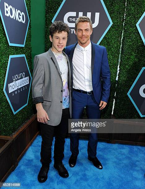 Actor Nolan Gould and tv personality Derek Hough attend the 2014 Young Hollywood Awards brought to you by Samsung Galaxy at The Wiltern on July 27...
