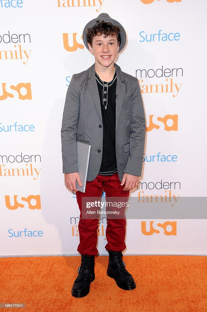 Actor Nolan Gould arrives at the 'Modern Family' Fan Appreciation Day hosted by USA Network at Westwood Village on October 28, 2013 in Los Angeles, California.
