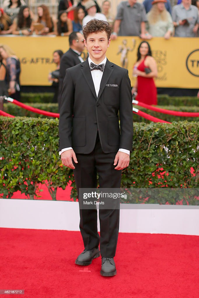 Actor <a gi-track='captionPersonalityLinkClicked' href=/galleries/search?phrase=Nolan+Gould&family=editorial&specificpeople=5691358 ng-click='$event.stopPropagation()'>Nolan Gould</a> attends TNT's 21st Annual Screen Actors Guild Awards at The Shrine Auditorium on January 25, 2015 in Los Angeles, California. 25184_021