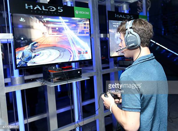 Actor Nolan Gould plays Halo 5 during the Xbox One E3 Showcase Party at The Majestic Downtown on June 15 2015 in Los Angeles California