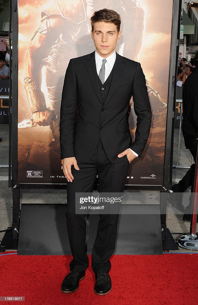 Actor Nolan Jerard Funk arrives at the Los Angeles Premiere 'Riddick' at the Mann Village Theater on August 28, 2013 in Westwood, California.
