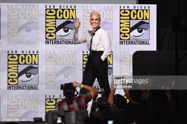 Actor Noomi Rapace walks onstage at Netflix Films 'Bright' and 'Death Note' panel during ComicCon International 2017 at San Diego Convention Center...