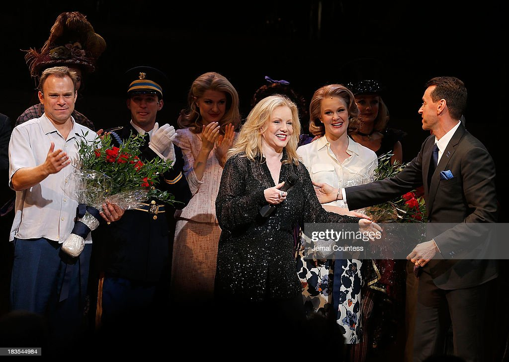 Actor Norbert Leo Butz, director Susan Stroman and actress Kate Baldwin take a bow during curtain call at the Broadway opening night of 'Big Fish' at Neil Simon Theatre on October 6, 2013 in New York City.
