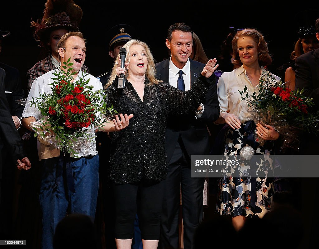Actor Norbert Leo Butz, director Susan Stroman, Composer/producer Andrew Lippa and actress Kate Baldwin take a bow during curtain call at the Broadway opening night of 'Big Fish' at Neil Simon Theatre on October 6, 2013 in New York City.