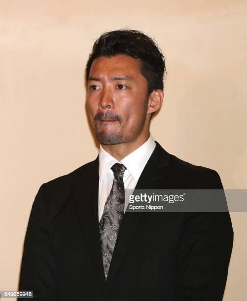Actor Norihito Kaneko attends 29th death anniversary ceremony of actor Yujiro Ishihara on July 17 2015 in Tokyo Japan