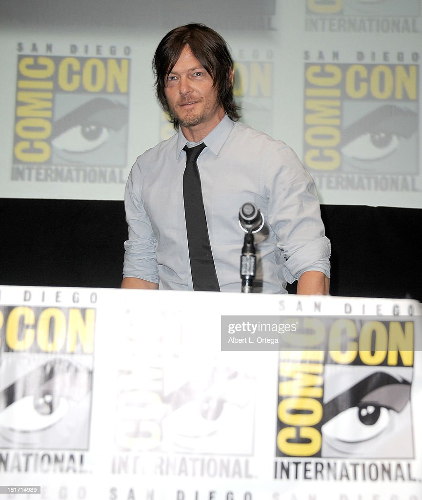 Actor <a gi-track='captionPersonalityLinkClicked' href=/galleries/search?phrase=Norman+Reedus&family=editorial&specificpeople=747258 ng-click='$event.stopPropagation()'>Norman Reedus</a> attends AMC's 'The Walking Dead' Panel as part of Comic-Con International 2013 held at San Diego Convention Center on Friday July 19, 2012 in San Diego, California.
