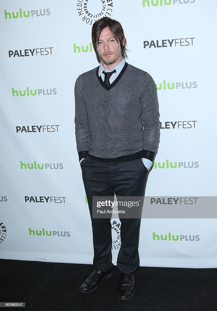 Actor <a gi-track='captionPersonalityLinkClicked' href=/galleries/search?phrase=Norman+Reedus&family=editorial&specificpeople=747258 ng-click='$event.stopPropagation()'>Norman Reedus</a> attends the 30th Annual PaleyFest featuring the cast of 'The Walking Dead' at Saban Theatre on March 1, 2013 in Beverly Hills, California.