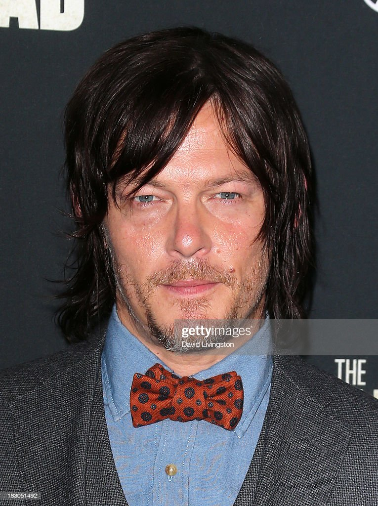 Actor <a gi-track='captionPersonalityLinkClicked' href=/galleries/search?phrase=Norman+Reedus&family=editorial&specificpeople=747258 ng-click='$event.stopPropagation()'>Norman Reedus</a> attends the premiere of AMC's 'The Walking Dead' 4th Season at Universal CityWalk on October 3, 2013 in Universal City, California.