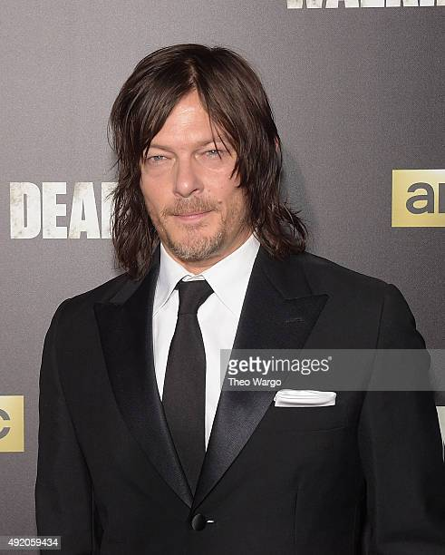 Actor Norman Reedus attends the season six premiere of 'The Walking Dead' at Madison Square Garden on October 9 2015 in New York City