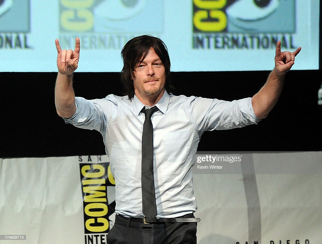 Actor <a gi-track='captionPersonalityLinkClicked' href=/galleries/search?phrase=Norman+Reedus&family=editorial&specificpeople=747258 ng-click='$event.stopPropagation()'>Norman Reedus</a> speaks onstage at AMC's 'The Walking Dead' panel during Comic-Con International 2013 at San Diego Convention Center on July 19, 2013 in San Diego, California.