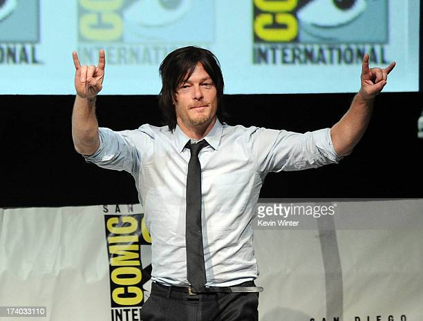 Actor Norman Reedus speaks onstage at AMC's 'The Walking Dead' panel during ComicCon International 2013 at San Diego Convention Center on July 19...
