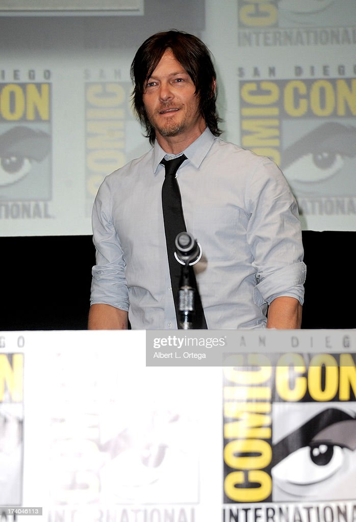 Actor Norman Reedus speaks onstage at AMC's 'The Walking Dead' panel during Comic-Con International 2013 at San Diego Convention Center on July 19, 2013 in San Diego, California.