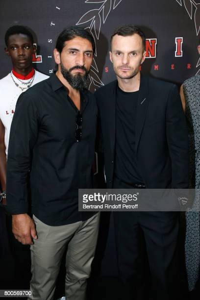 ACtor Numan Acar and Stylist Kris Van Assche pose Backstage after the Dior Homme Menswear Spring/Summer 2018 show as part of Paris Fashion Week on...