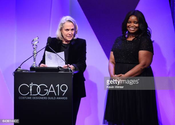 Actor Octavia Spencer reacts when costume designer Renee Ehrlich Kalfus accepts the Excellence in Period Film award for 'Hidden Figures' onstage at...