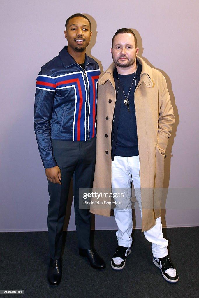 Actor of Movie 'Creed l'heritage de Rocky Balboa' Michael B Jordan and Stylist Kim Jones pose Backstage after the Louis Vuitton Menswear Fall/Winter...