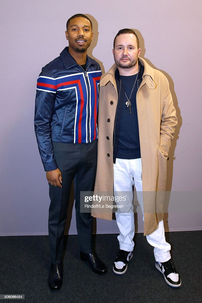 Actor of Movie 'Creed : l'heritage de Rocky Balboa', Michael B. Jordan and Stylist Kim Jones pose Backstage after the Louis Vuitton Menswear Fall/Winter 2016-2017 Fashion Show as part of Paris Fashion Week. Held at 'Parc Andre Citroen' on January 21, 2016 in Paris, France.