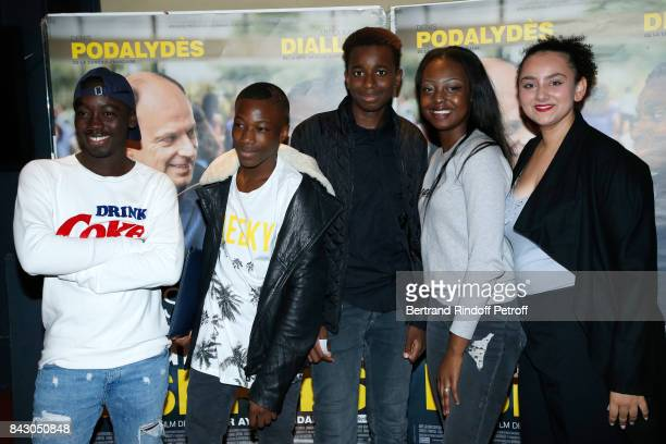 Actor of the movie Abdoulaye Diallo and aothers actors attend the 'Les grands Esprits' Paris Premiere at UGC Cine Cite des Halles on September 5 2017...