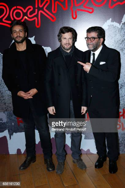 Actor of the movie Maxim Nucci Actor and Director of the movie Guillaume Canet and Producer of the movie Alain Attal attend the 'Rock'N Roll'...