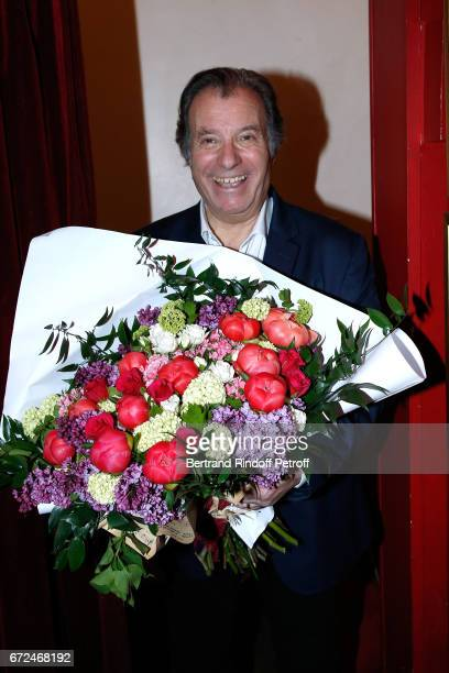 Actor of the piece Daniel Russo poses after 'La Recompense' Theater Play at Theatre Edouard VII on April 24 2017 in Paris France