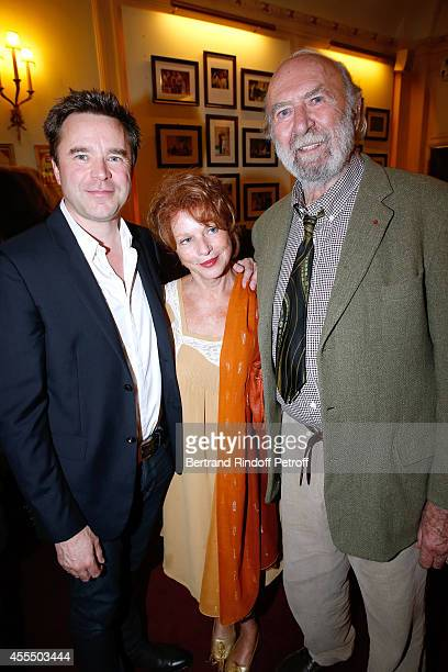 Actor of the piece Guillaume de Tonquedec actors Agathe Natanson and her husband JeanPierre Marielle pose after 'Un diner d'adieu' Premiere Held at...