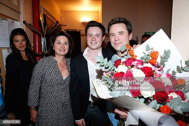 Actor of the piece Guillaume de Tonquedec his wife Christelle their son Amaury with his companion Alix pose after 'Un diner d'adieu' Premiere Held at...