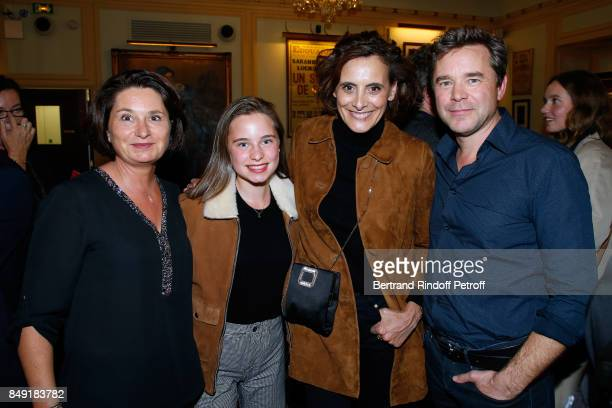 Actor of the piece Guillaume de Tonquedec his wife Cristele their daughter Victoire and Ines de la Fressange attend 'La vraie vie' Theater Play at...