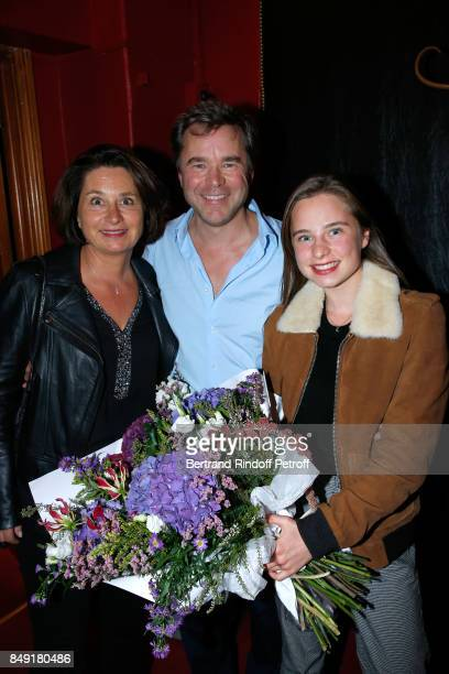 Actor of the piece Guillaume de Tonquedec with his wife Cristele and their daughter Victoire attend 'La vraie vie' Theater Play at Theatre Edouard...