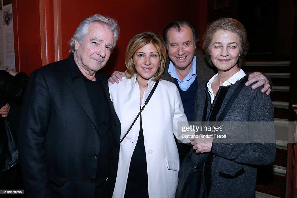 Actor of the Piece <a gi-track='captionPersonalityLinkClicked' href=/galleries/search?phrase=Pierre+Arditi&family=editorial&specificpeople=2046773 ng-click='$event.stopPropagation()'>Pierre Arditi</a>, Autor <a gi-track='captionPersonalityLinkClicked' href=/galleries/search?phrase=Amanda+Sthers&family=editorial&specificpeople=4294346 ng-click='$event.stopPropagation()'>Amanda Sthers</a>, Actor of the Piece Daniel Russo and Actress Charlotte rampling attend the 'L'Etre ou pas' : Theater play at Theatre Antoine on March 21, 2016 in Paris, France.