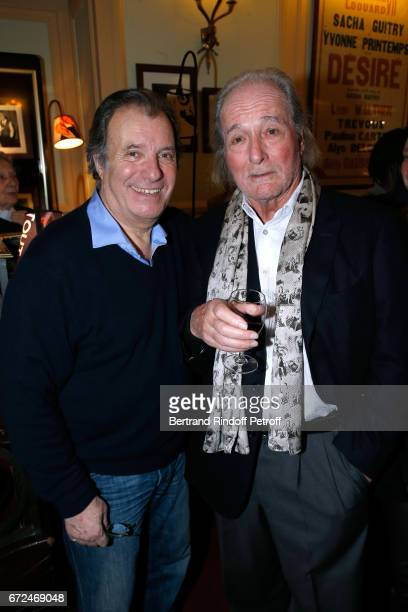 Actor of the play Daniel Russo and Claude Zidi attend 'La Recompense' Theater Play at Theatre Edouard VII on April 24 2017 in Paris France