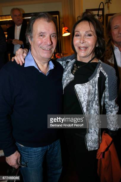 Actor of the play Daniel Russo and Rolande Segur attend 'La Recompense' Theater Play at Theatre Edouard VII on April 24 2017 in Paris France