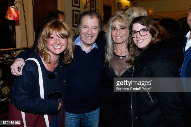 Actor of the play Daniel Russo with his wife Lucie and their daughters attend 'La Recompense' Theater Play at Theatre Edouard VII on April 24 2017 in...