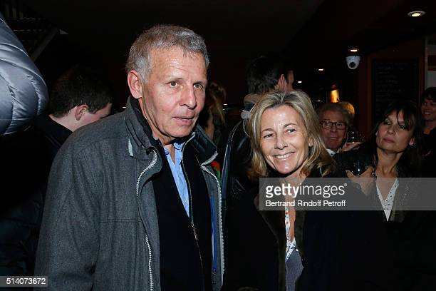 Actor of the play Patrick Poivre d'Arvor and Journalist Claire Chazal attend the 'Garde Alternee' Theater Play at Theatre des Mathurins on March 6...