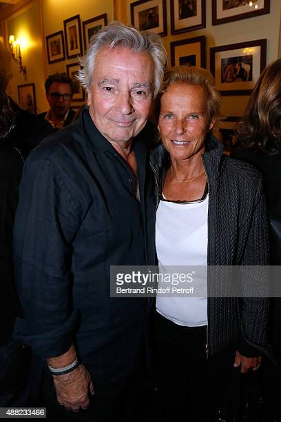 Actor of the show Pierre Arditi and Journalist Christine Ockrent attend 'Le Mensonge' Theater Play Held at Theatre Edouard VII on September 14 2015...