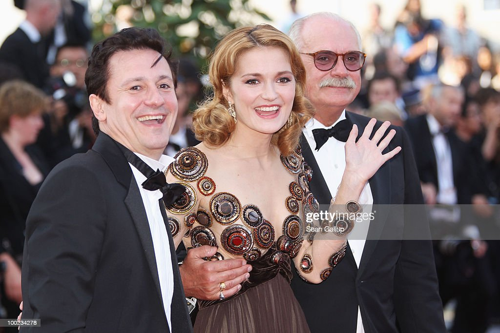 Actor Oleg Menshikov, actress Nadezhda Mihalkova and Director <a gi-track='captionPersonalityLinkClicked' href=/galleries/search?phrase=Nikita+Mikhalkov&family=editorial&specificpeople=175860 ng-click='$event.stopPropagation()'>Nikita Mikhalkov</a> and attend the 'The Exodus - Burnt By The Sun' Premiere at the Palais des Festivals during the 63rd Annual Cannes Film Festival on May 22, 2010 in Cannes, France.