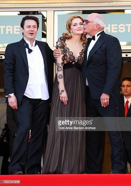 Actor Oleg Menshikov actress Nadezhda Mihalkova and director Nikita Mikhalkov attend the 'The Exodus Burnt By The Sun 2' Premiere held at the Palais...