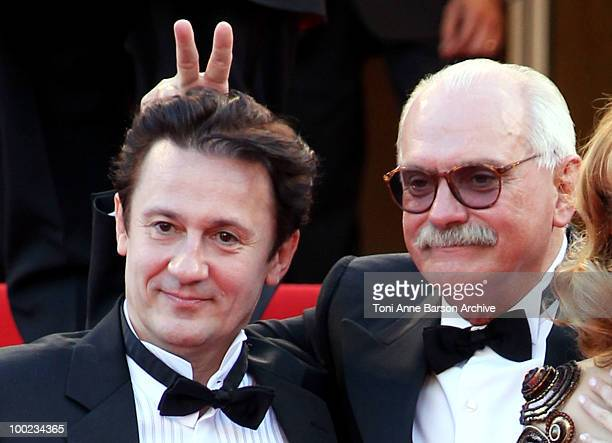 Actor Oleg Menshikov and director Nikita Mikhalkov attend the 'The Exodus Burnt By The Sun 2' Premiere held at the Palais des Festivals during the...