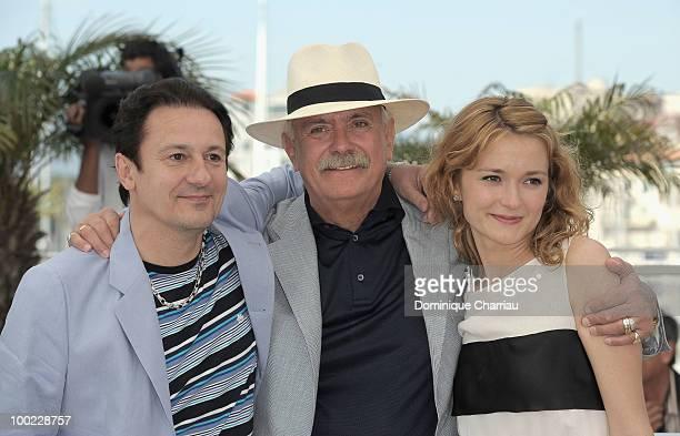 Actor Oleg Menshikov director Nikita Mikhalkov and actress Nadezhda Mihalkova and a attend 'The Exodus Burnt By The Sun 2' Photo Call held at the...