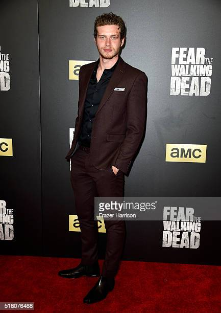 Actor Oliver Stark attends the premiere of AMC's 'Fear The Walking Dead' Season 2 at Cinemark Playa Vista on March 29 2016 in Los Angeles California