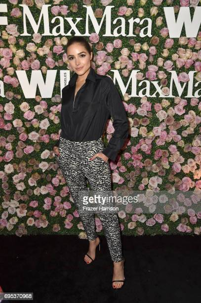 Actor Olivia Culpo wearing Max Mara at Max Mara Celebrates Zoey Deutch The 2017 Women In Film Max Mara Face of the Future at Chateau Marmont on June...