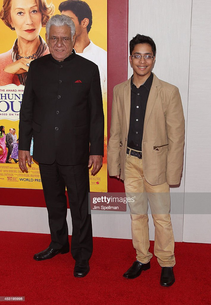 Actor <a gi-track='captionPersonalityLinkClicked' href=/galleries/search?phrase=Om+Puri&family=editorial&specificpeople=1651238 ng-click='$event.stopPropagation()'>Om Puri</a> and guest attend the 'The Hundred-Foot Journey' New York Premiere at Ziegfeld Theater on August 4, 2014 in New York City.